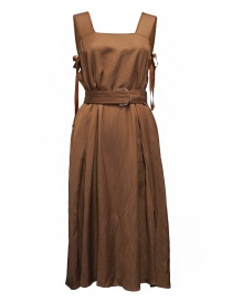 Womens dresses online: Rito brown sleeveless dress