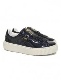 Sneaker Puma Basket Platform Patent blu lucido 363314-PEACOAT order online