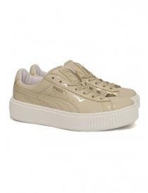 Puma Basket Platform Patent oatmetal sneaker