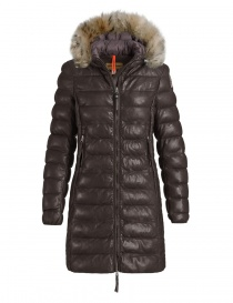 Parajumpers Demi dark brown leather coat