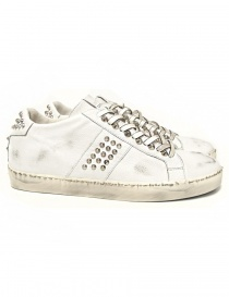Mens shoes online: Leather Crown Iconic men's white sneakers
