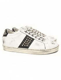 Leather Crown Iconic men's white/black sneakers MICONIC-16-BIANCO-NER order online