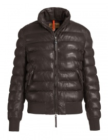 Womens jackets online: Parajumpers Lucy dark brown leather bomber jacket