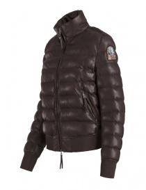 Parajumpers Lucy dark brown leather bomber jacket