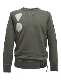 Mens knitwear online: Rude Riders gray patched sweater