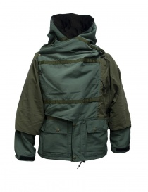 Mens jackets online: Kapital Kamakura green and grey anorak jacket