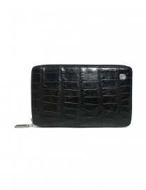 Tardini black satin alligator leather travel wallet online