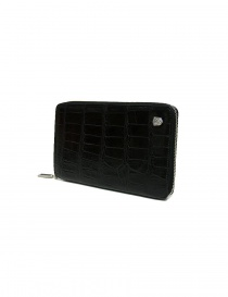 Tardini black satin alligator leather travel wallet