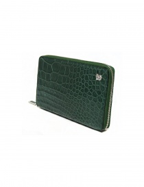 Tardini oil green satin alligator leather travel wallet