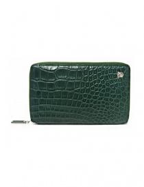Portafoglio da viaggio Tardini in alligatore satinato colore verde olio online