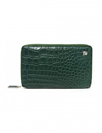 Tardini oil green satin alligator leather travel wallet online