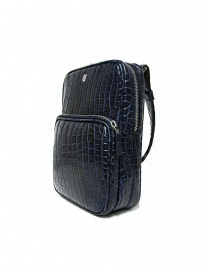 Tardini baltic blue waxed alligator leather handbag