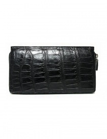 Tardini black waxed alligator leather travel wallet online