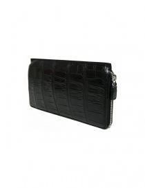 Tardini black waxed alligator leather travel wallet
