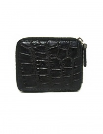 Tardini black waxed alligator leather zippered wallet