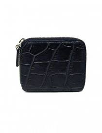 Tardini baltic blue waxed alligator leather zippered wallet online