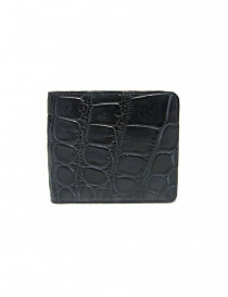 Tardini baltic blue waxed alligator leather wallet online