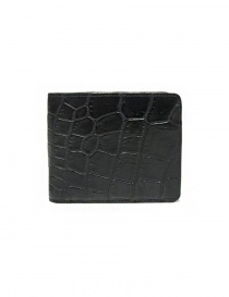 Tardini black waxed alligator leather wallet online