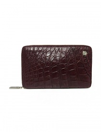 Tardini burgundy red satin alligator leather travel wallet online