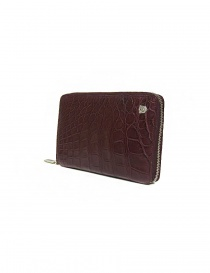 Tardini burgundy red satin alligator leather travel wallet