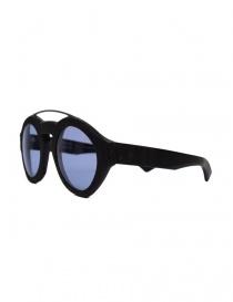 Paul Easterlin Woody black glasses with blue lenses