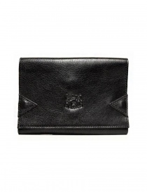 Il Bisonte black leather wallet with elastic band closure online