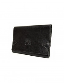 Il Bisonte black leather wallet with elastic band closure