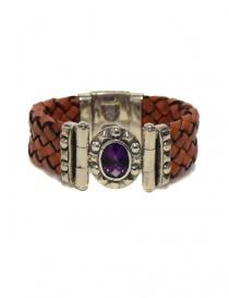 Elfcraft Oval Pyramides silver and leather bracelet online
