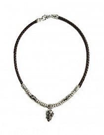 Collana Elfcraft Crowned Skull in argento e pelle 548-11-399 order online