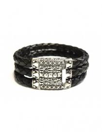 Elfcraft Pyramides silver and leather bracelet online