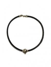 Collana Elf Craft Pendant skull in pelle nera e argento 506-00-NECKLACE+514-099-28HOLE order online