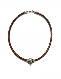 Collana Elf Craft Pendant skull in pelle marrone e argento 546-00-S-NECKBAND+514-099-28HOLE order online