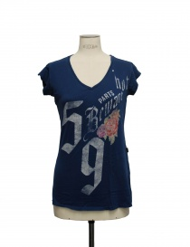 Womens t shirts online: Rude Riders v neck blue t-shirt