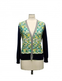 Womens cardigans online: Side Slope X Antipast blue and green cardigan