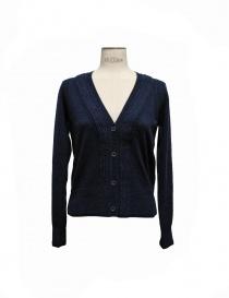 Womens cardigans online: Side Slope navy cardigan
