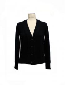 Womens cardigans online: Side Slope black cardigan