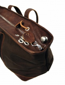 Sak canvas and leather Bag in dark brown color