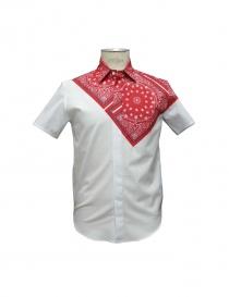 Camicia Yoshio Kubo colore rosso e bianco yks15206 red order online