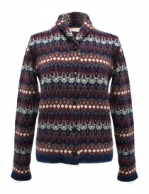 Womens cardigans online: Casa Isaac blue red cardigan