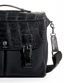 Alligator black leather Tardini briefcase