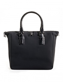 Borsa shopper Tardini in pelle di alligatore colore nero A6T231N30 order online