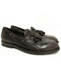 Shoto dark brown leather mocassin shoes 9691-225-OFF-WHI order online