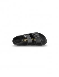 Black leather double stripe women's sandals Birkenstock Monterey