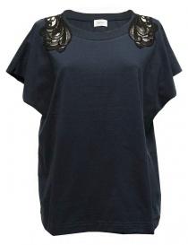 Womens knitwear online: Harikae navy short sleeve sweater