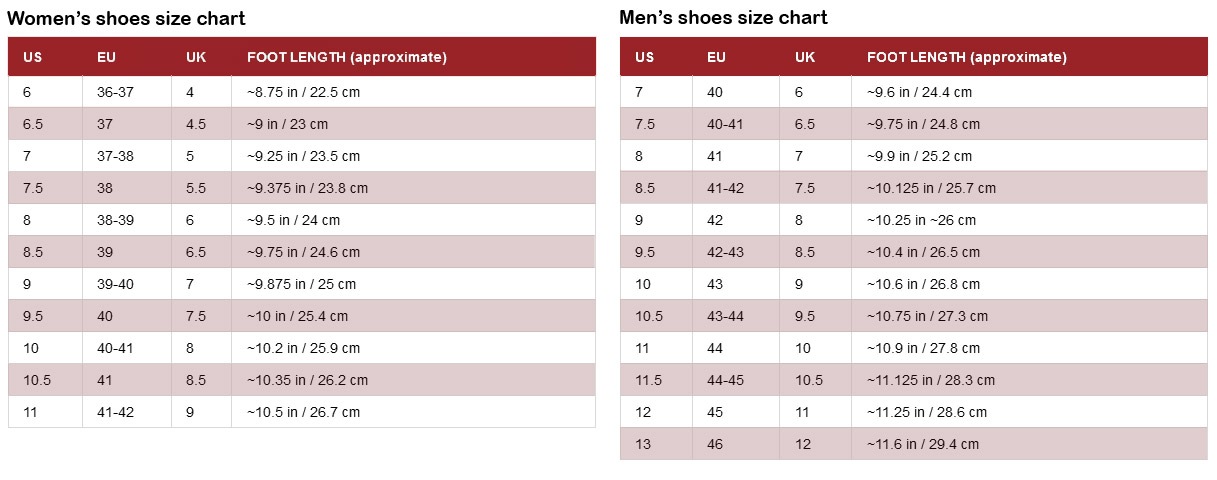 International footwear size chart