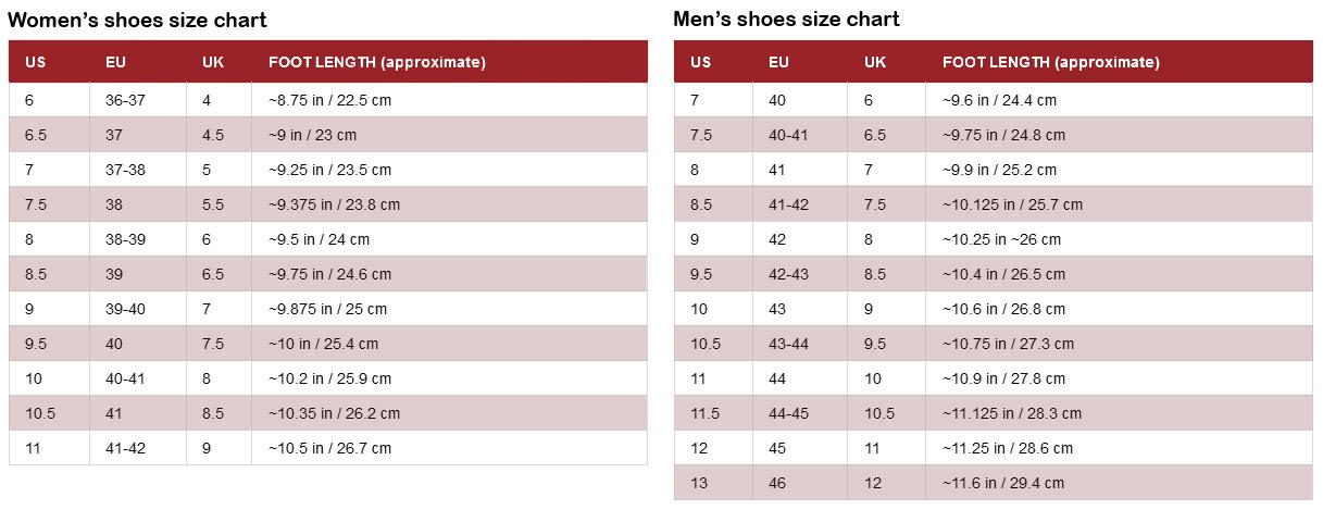 Tabella taglie scarpe internazionale
